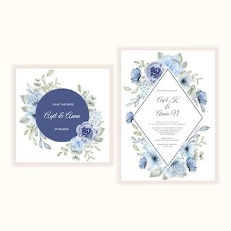 Conjunto de convite de casamento de ilustração em aquarela de flor azul