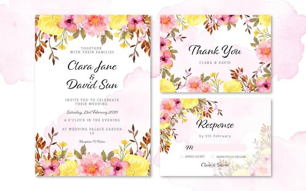 Conjunto de convite de casamento de linda flor rústica colorida com mancha abstrata