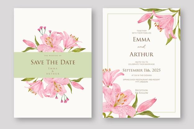 Conjunto de convite de casamento de lírio rosa em aquarela