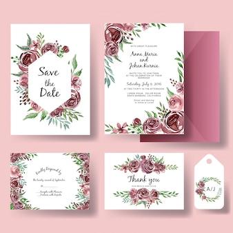 Conjunto de convite de casamento de modelo de aquarela flor roxa