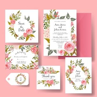 Conjunto de convite de casamento de modelo romântico rosa rosa