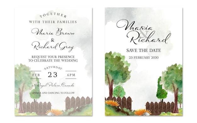 Conjunto de convite de casamento de paisagem com lindo fundo de jardim