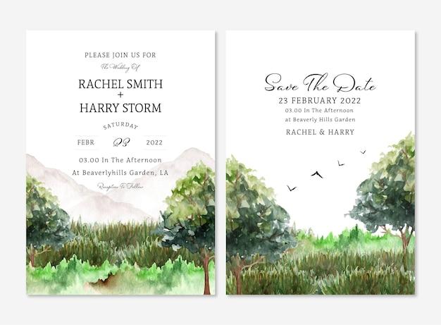 Conjunto de convite de casamento de paisagem com montanhas e árvores