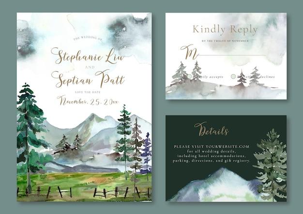 Conjunto de convite de casamento de paisagem em aquarela de montanha gelada e pinheiros