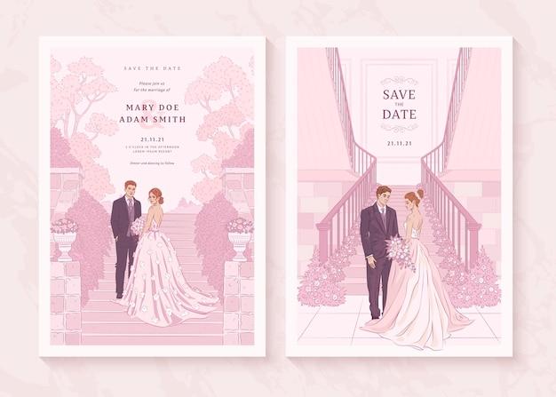 Conjunto de convite de casamento desenhado à mão com um casal de noivos