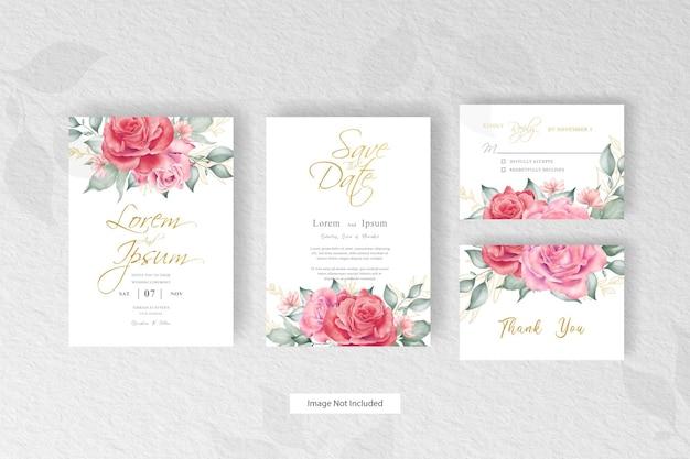 Conjunto de convite de casamento editável com flores e folhas em aquarela desenhada à mão