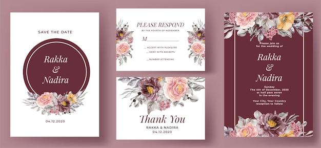 Conjunto de convite de casamento elegante borgonha e rosa rosa