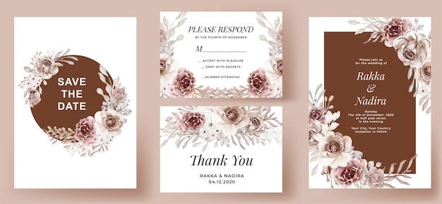 Conjunto de convite de casamento elegante com flores de terracota
