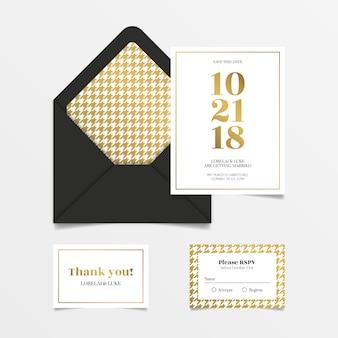 Conjunto de convite de casamento elegante ouro e preto