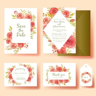 Conjunto de convite de casamento em aquarela flor moldura rosa vermelha
