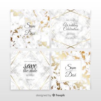 Conjunto de convite de casamento em mármore