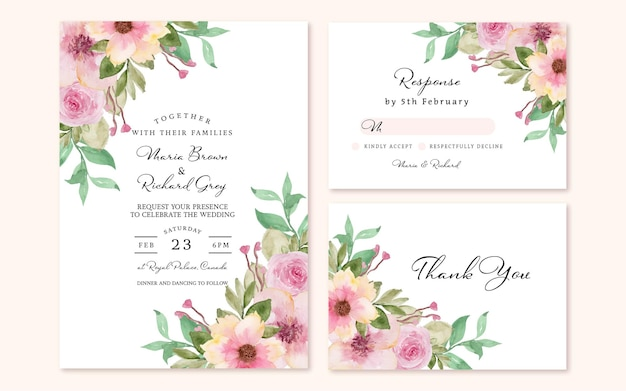Conjunto de convite de casamento floral com buquê de flores rosa