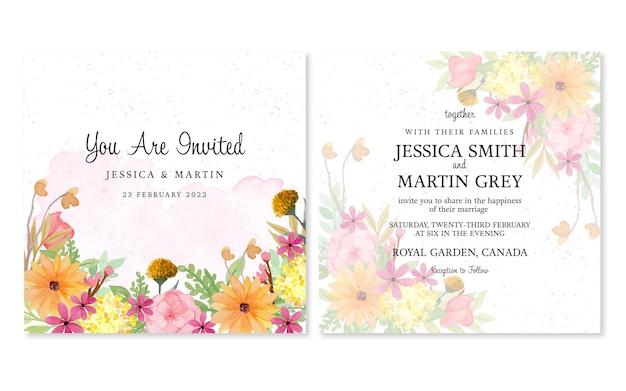 Conjunto de convite de casamento floral com fundo de flores em aquarela