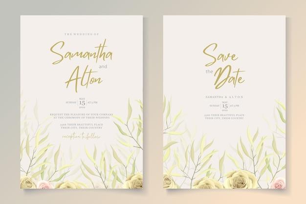 Conjunto de convite de casamento floral elegante Vetor Premium