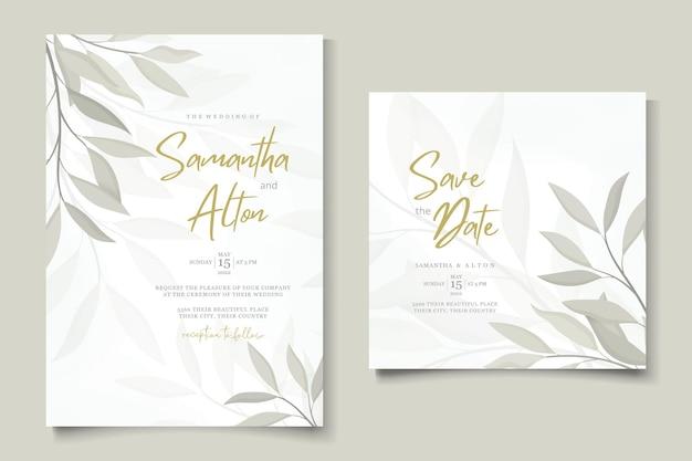 Conjunto de convite de casamento floral elegante