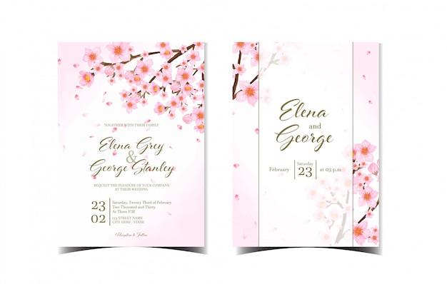 Conjunto de convite de casamento floral lindo com flores de cerejeira japonesa