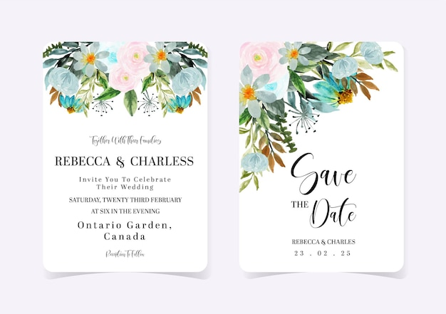 Conjunto de convite de casamento floral rosa e azul