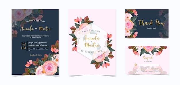 Conjunto de convite de casamento floral rosa e marinho Vetor Premium
