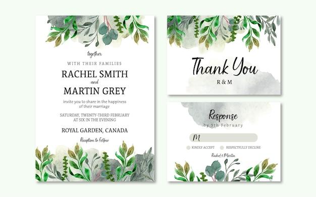Conjunto de convite de casamento floral rústico com folha verde elegante