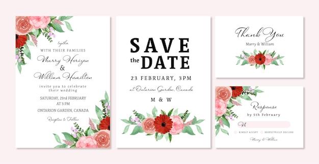 Conjunto de convite de casamento floral rústico vermelho e rosa romântico Vetor Premium