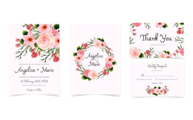 Conjunto de convite de casamento floral vermelho lindo