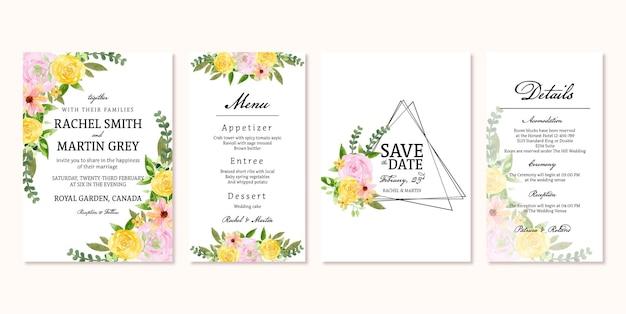 Conjunto de convite de casamento floral vintage bonito amarelo rosa rústico