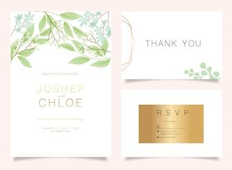 Conjunto de convite de casamento floral