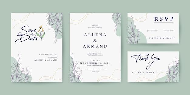 Conjunto de convite de casamento lindo e simples
