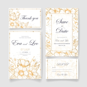 Conjunto de convite de casamento lindo (salvar o cartão de data, cartão de rsvp, cartão de agradecimento) com flores douradas, folhas e galhos. convite de casamento feliz. ideal para cerimônia de casamento e casamento feliz!