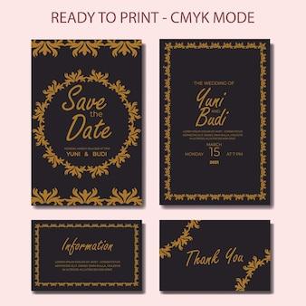 Conjunto de convite de casamento luxo dourado elegante moderno retro