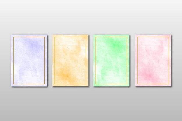 Conjunto de convite de casamento minimalista criativo pintado à mão com artes em aquarela abstratas