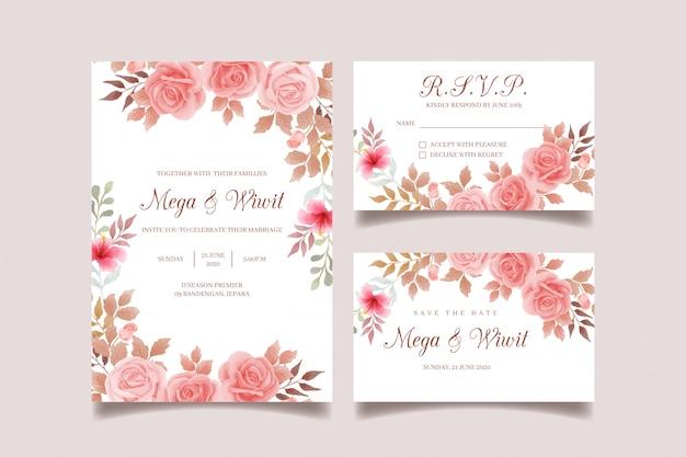 Conjunto de convite de casamento pêssego