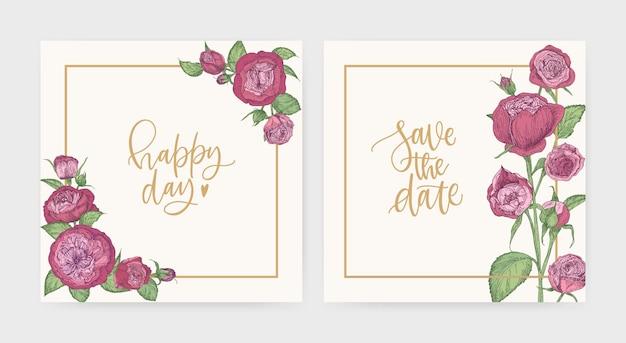 Conjunto de convite de casamento quadrado elegante e modelos de cartão para salvar a data