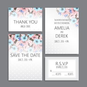 Conjunto de convite de casamento
