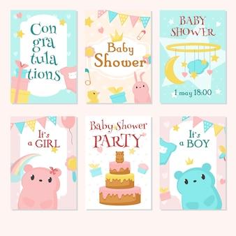Conjunto de convite de chuveiro de bebê