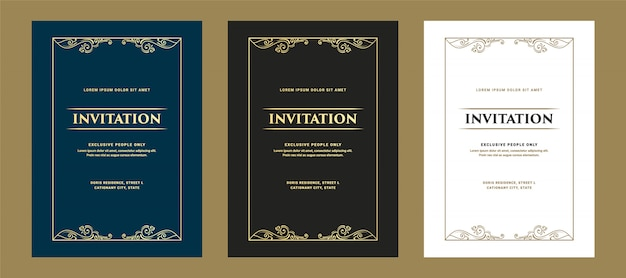 Conjunto de convite de estilo retro antigo real de luxo e cartão para festa de aniversário de entrada vip passar comemoração e aniversário de casamento