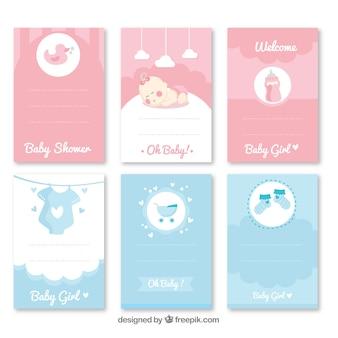Conjunto de convite de festa de bebé com roupas