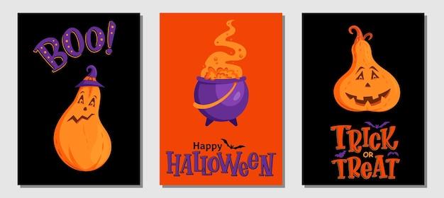 Conjunto de convite ou cartões de halloween mão desenhada. abóbora de símbolos de halloween tradicional, caldeirão de bruxas e letras manuscritas. folheto, banner, modelo de cartaz.