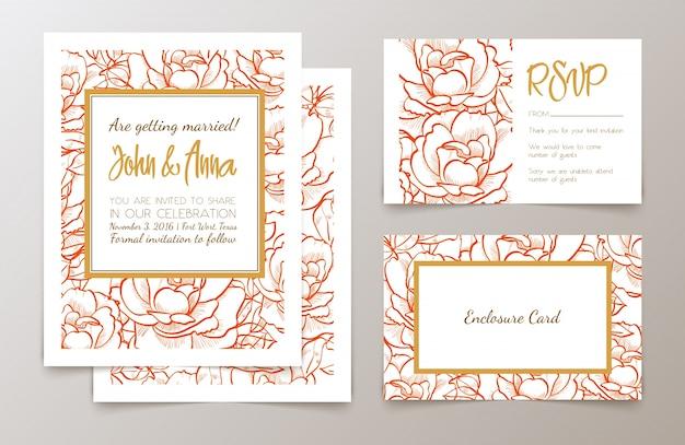 Conjunto de convite para casamentos