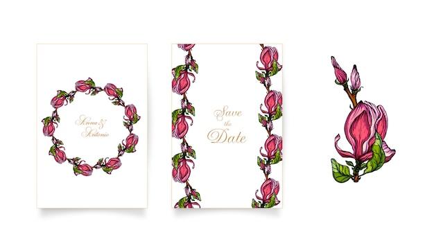 Conjunto de convites com flores rosa magnólia