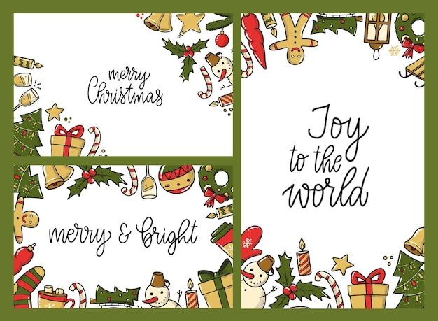 Conjunto de convites de cartazes de cartões de natal