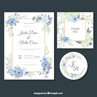 Conjunto de convites de casamento agradáveis