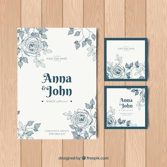 Conjunto de convites de casamento agradável em estilo vintage