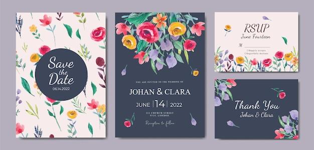 Conjunto de convites de casamento com bela aquarela floral