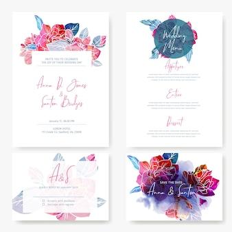 Conjunto de convites de casamento com flores da primavera