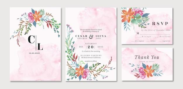 Conjunto de convites de casamento com lindas aquarela de jardim floral