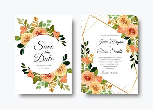 Conjunto de convites de casamento com rosas em aquarela