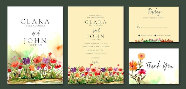 Conjunto de convites de casamento de flores em aquarela no jardim