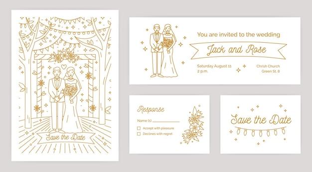 Conjunto de convites de casamento e modelos de nota de resposta