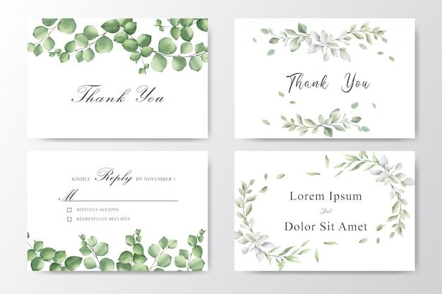Conjunto de convites de casamento em aquarela